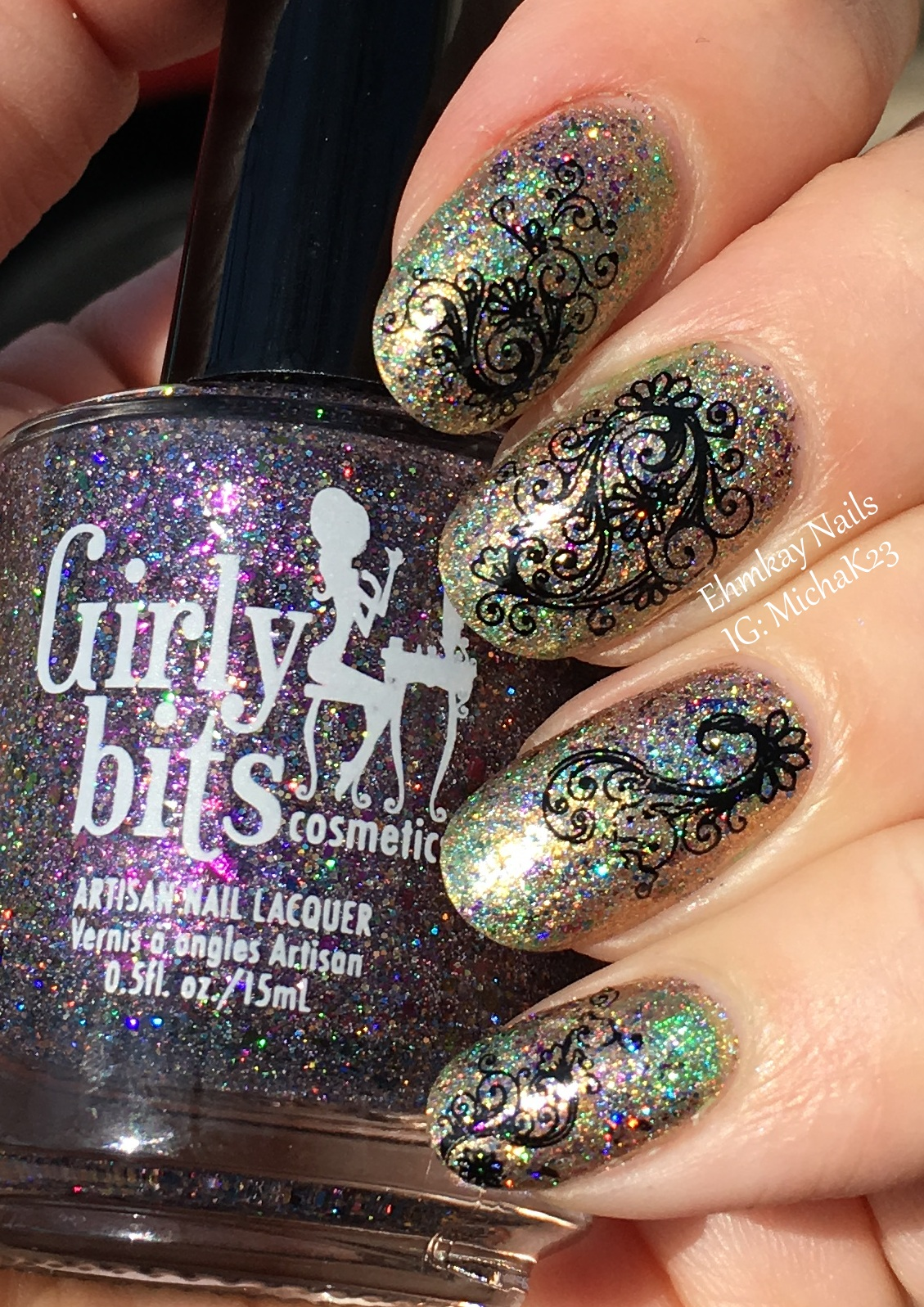 ehmkay nails: Mardi Gras Nail Art: Saran Wrap with Lace Decals