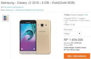 Samsung Galaxy J3 Harga Baru Rp 1 Jutaan