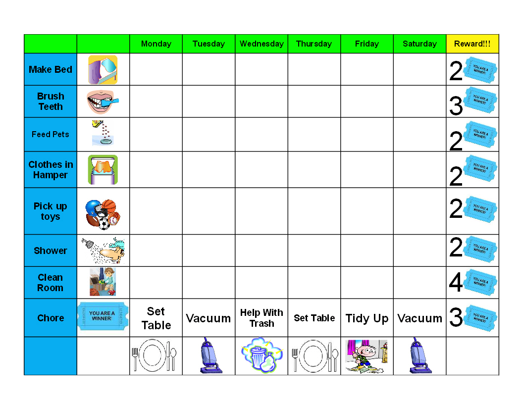 Antjie die rooibruin hen kids good behaviour chore chart for Chore list template for kids