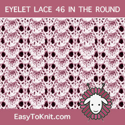 Tiny Shell Eyelet Lace, easy to knit in the round