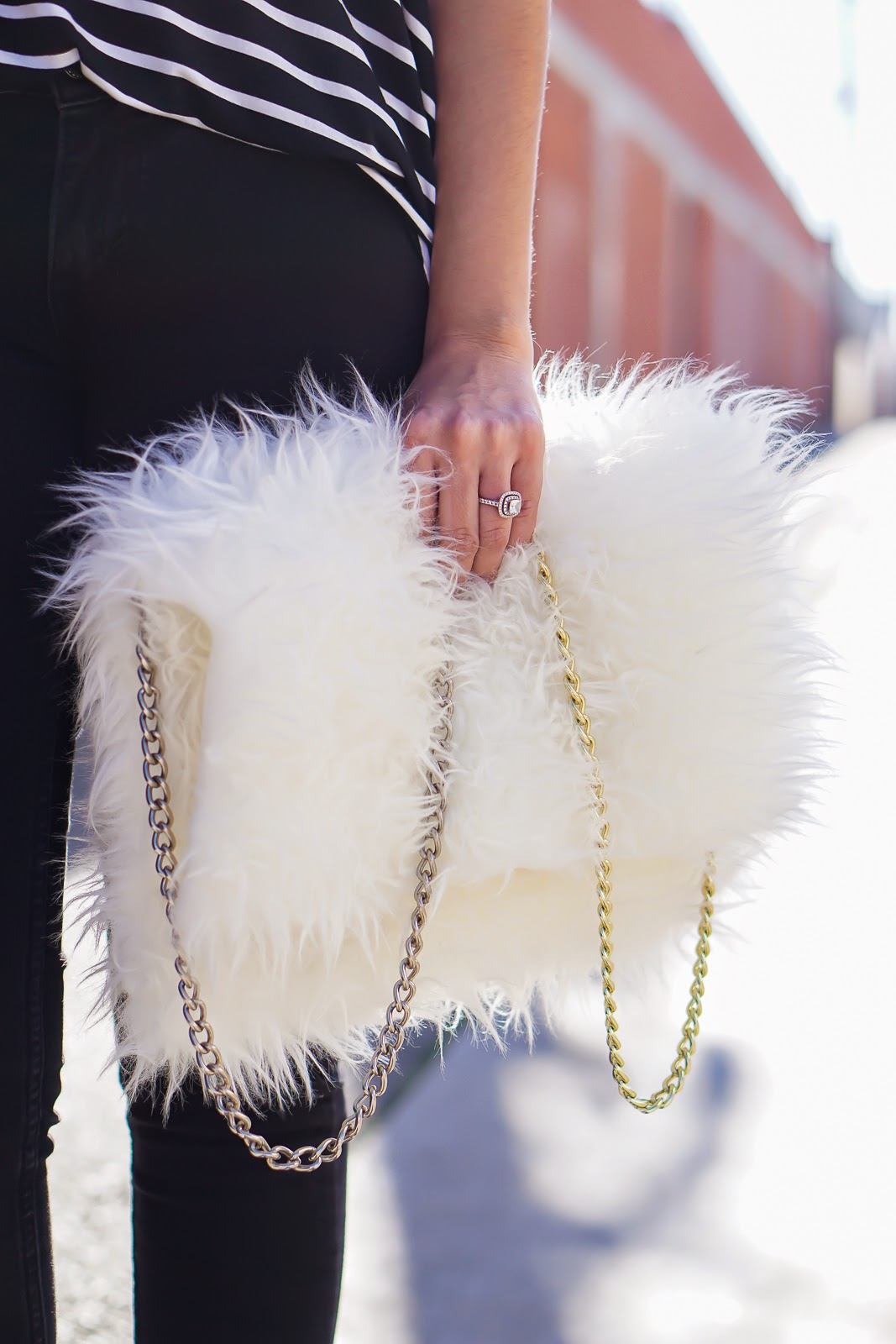 DIY Faux Fur clutch, DIY White Faux Fur bag, Ikea Faux Sheepskin, Zara Black Strappy Heels, Zara High Heel Strappy Sandals, Levis Black Jeggings, Levis Jeans, Striped Shirt, Joe Fresh Striped Top,