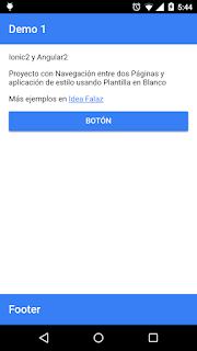 Ionic2 con Navegación entre dos Páginas y aplicación de estilo usando Plantilla en Blanco