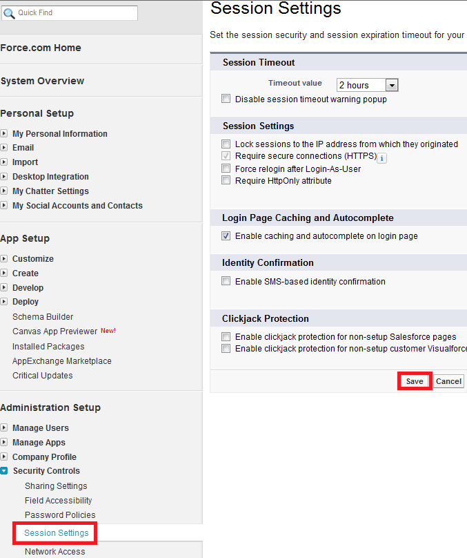 Infallible Techie: Session Settings in Salesforce