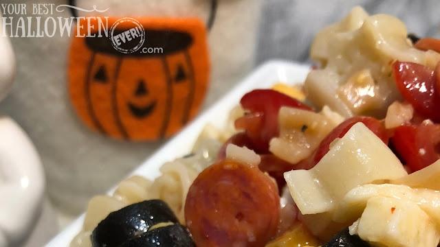 Halloween pasta salad, spooky noodle pasta