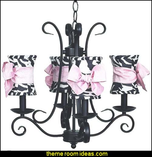 Harp Zebra Hourglass 4 Arm Chandelier