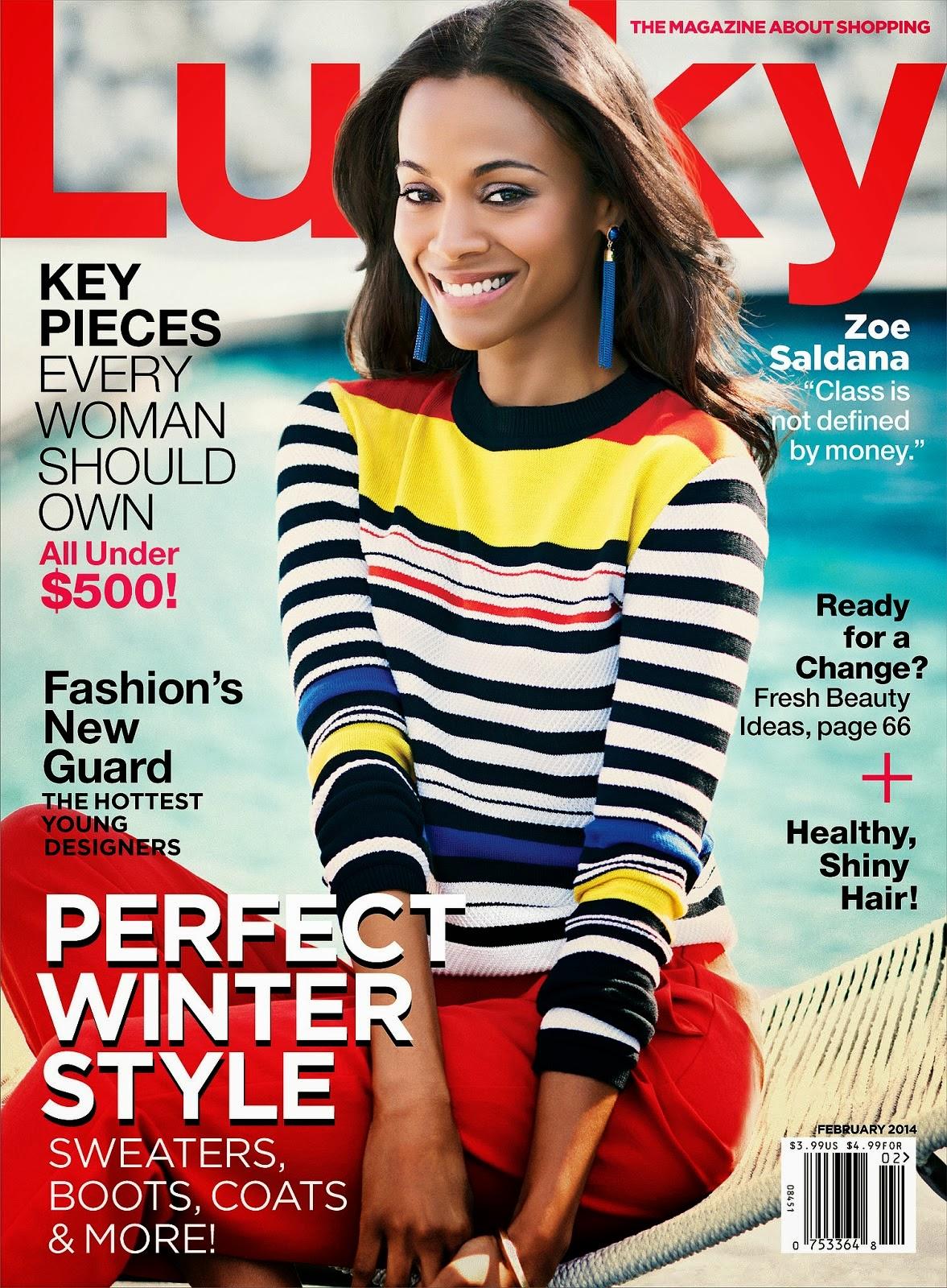 Lucky Magazine May 11: Smartologie: Zoe Saldana For Lucky Magazine February 2014