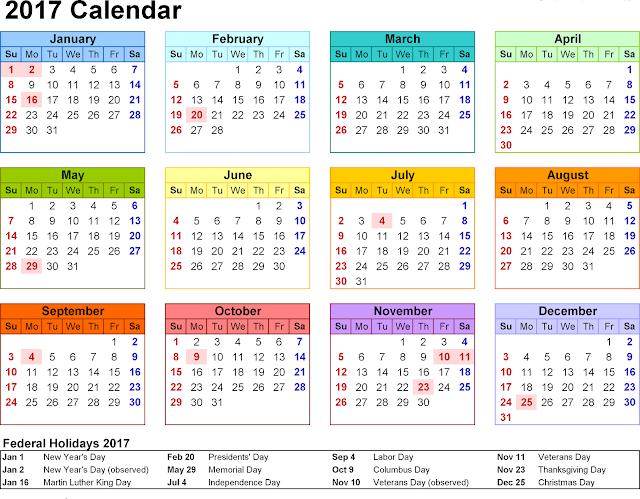 2017 Calendar India Holidays