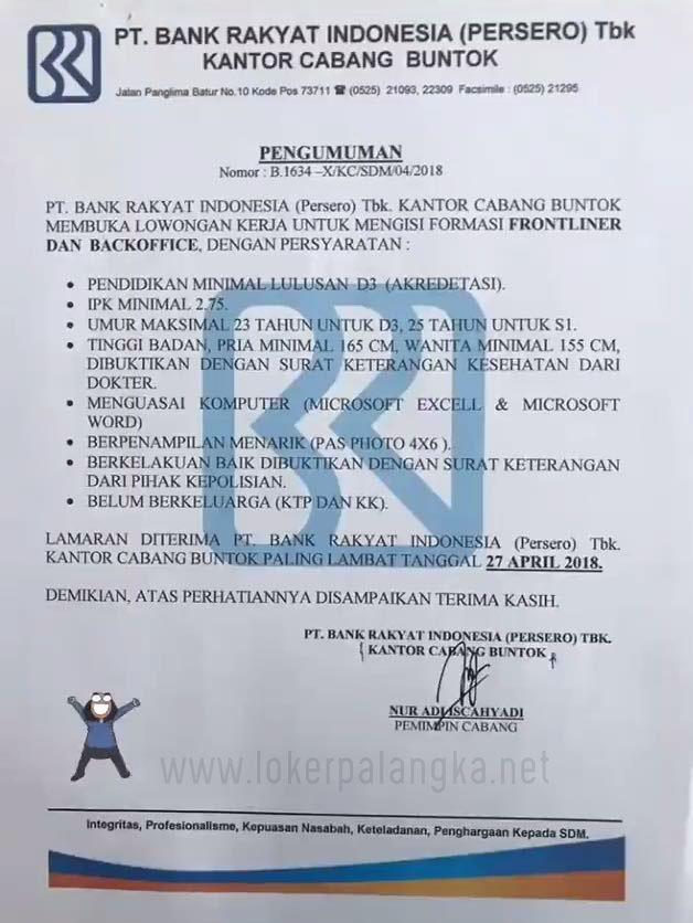 Lowongan Kerja Pt Bank Rakyat Indonesia Cabang Buntok April 2018 Lowongan Kerja Kalimantan Tengah