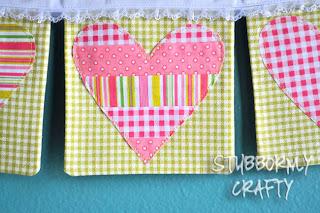 Valentine's Day applique heart banner handmade