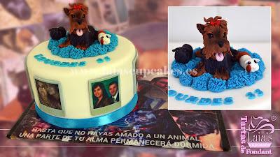 tarta personalizada fondant modelado perrito animales mascotas familia laia's cupcakes puerto sagunto