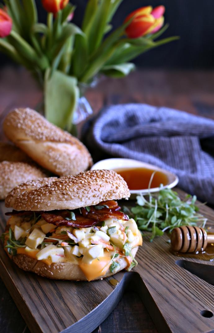 Loaded-Egg-Salad-Bagel-with-Honey-Roasted-Bacon