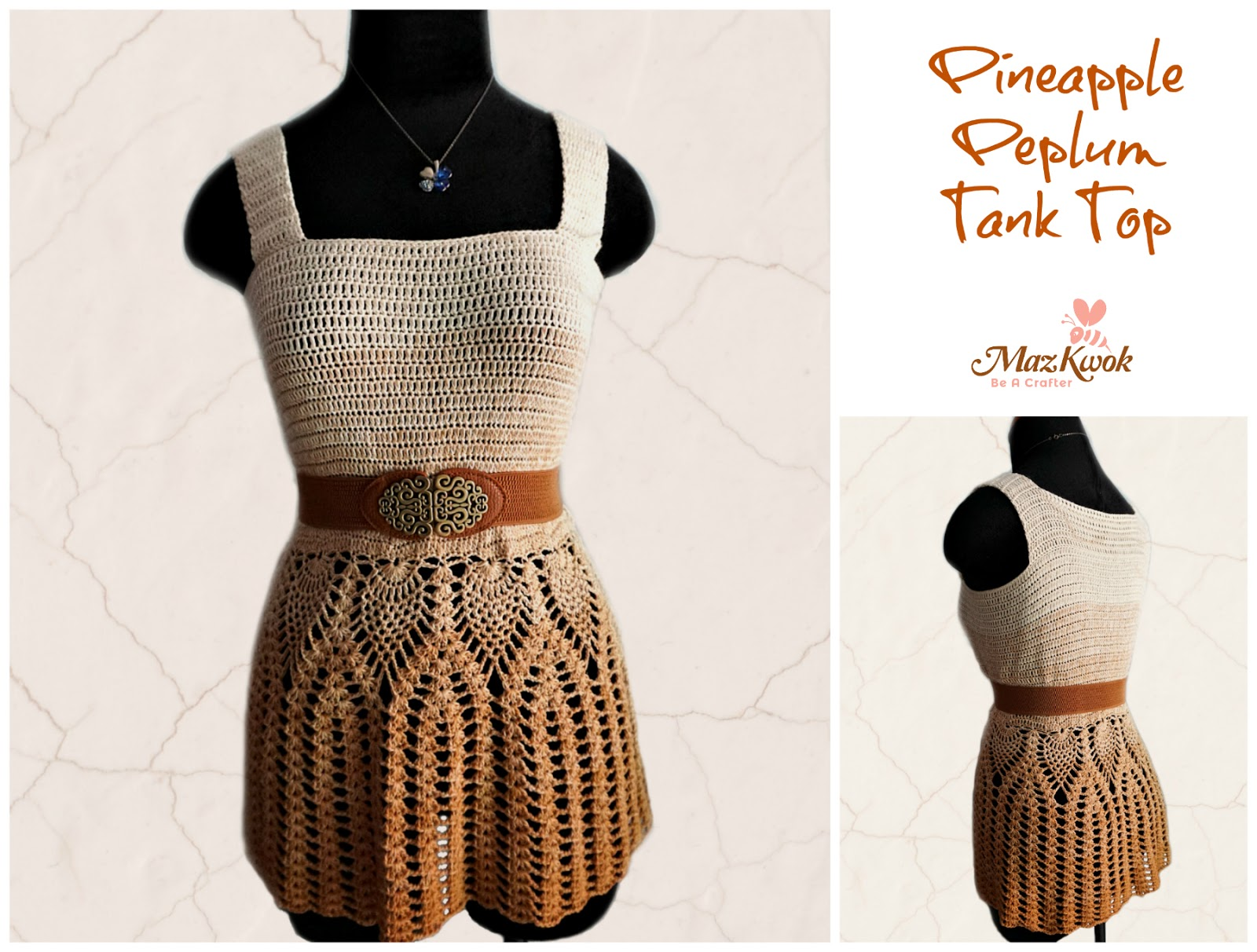 Pineapple Peplum Tank Top Free Crochet Pattern