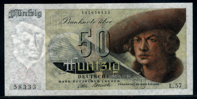 Germany banknotes 50 Deutsche Mark currency paper money
