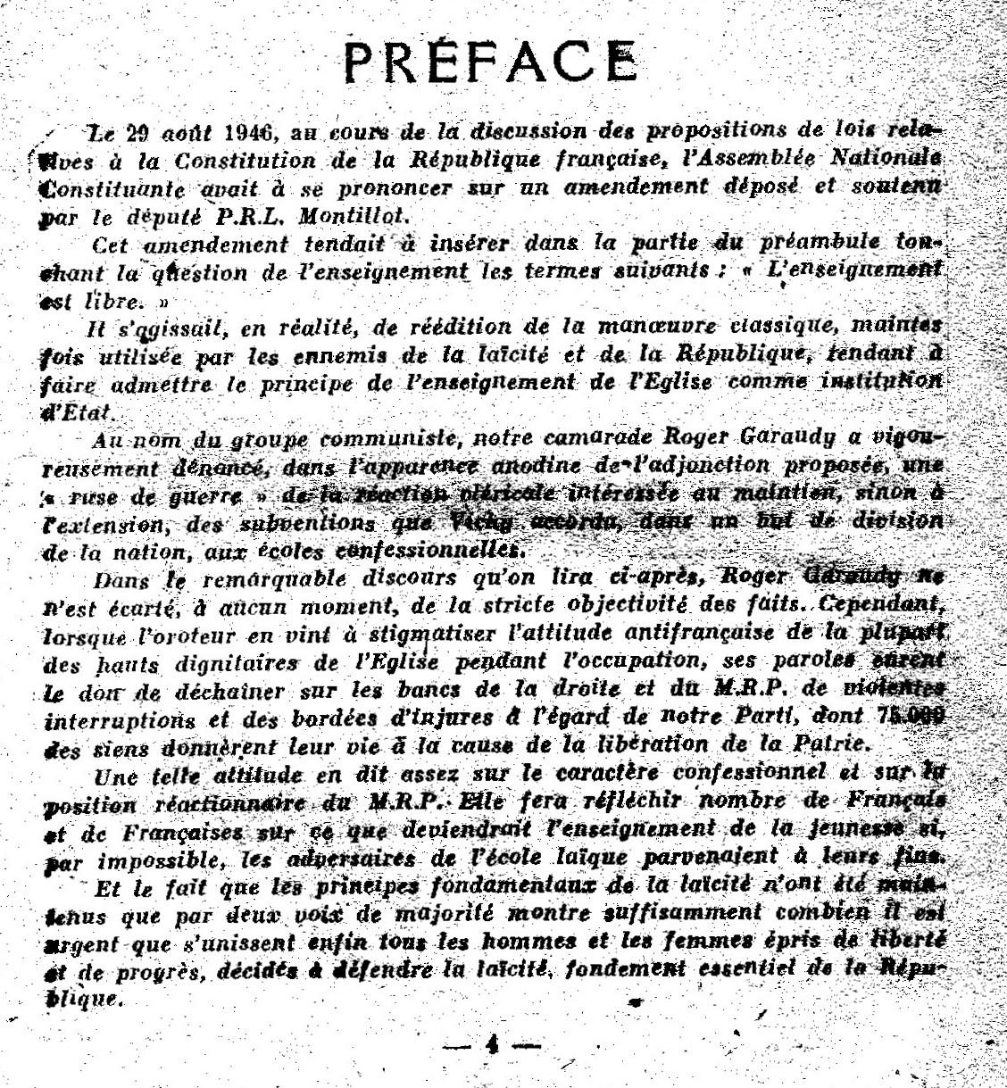 constitution 1946 laïcité