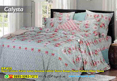 Sprei Custom Katun Lokal Dewasa Calista Tosca Bunga Floral Pattern Hijau Tosca