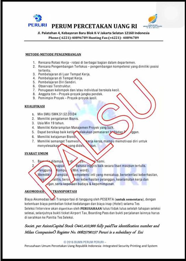 Penipuan Rekrutmen Karyawan Mengatasnamakan BUMN PERUM PERURI  STOP BISNIS HARAM lisubisnis.com bisnis muslim