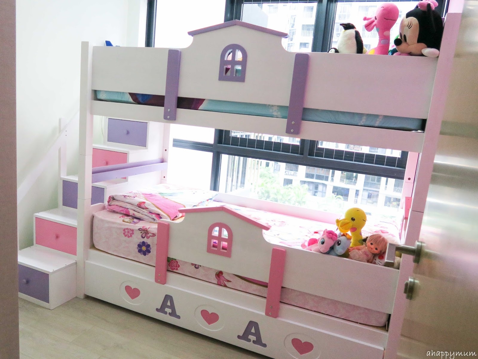 Double deck bedroom for kids girls - Yes Here S The Personalised Pink And Purple Bed For The Girls The Little House Double Deck With Trundle And Ladder Drawers What I Like About Kids Haven