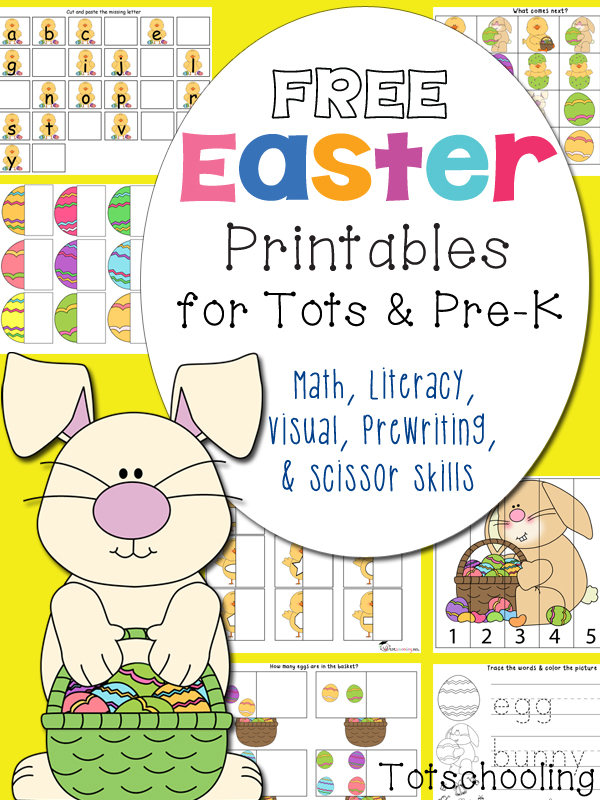 Free Easter Printables Pack for Toddlers and Preschoolers featuring number recognition, number quantity, counting, shapes, patterns, alphabet letter cases, sight words, letter tracing, sorting, visual discrimination, coloring, puzzles, pre-writing, and scissor skills.