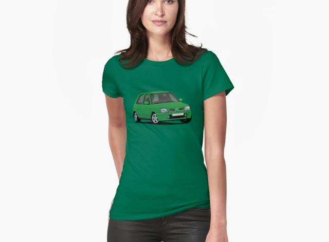 Green Nissan Micra / Nissan March - car  t-shirt