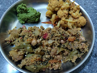 Foxtail millet Veg Biryani, Cauli flower masala, Cilantro Chutney