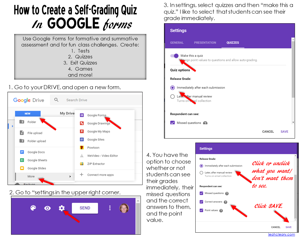 Using Google Forms to Create Self-Grading Quizzes - Leah Cleary