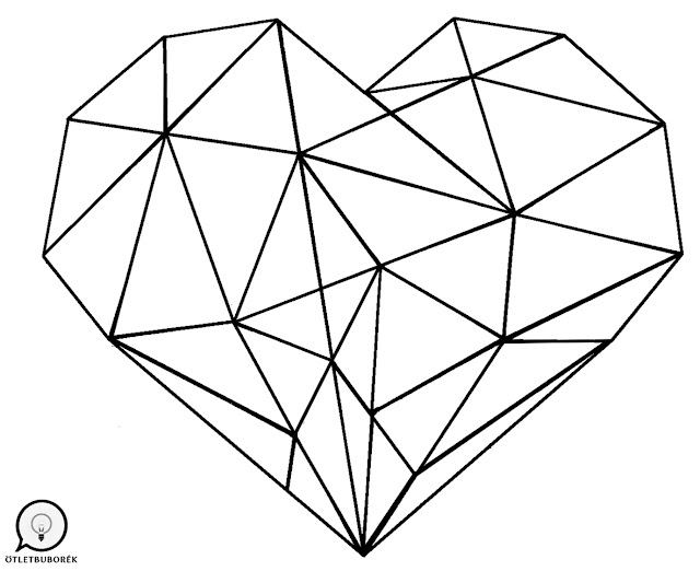 Pirográf minta geometrikus szív