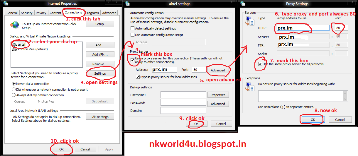 AIRTEL 3G FREE INTERNET proxy TRICK