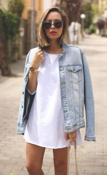 ootd | denim jacket  and white top dress + bag