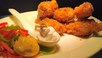 Dinner ideas homemade KFC style fried chicken in plate with mayonnaise sauce and garnished