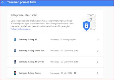 Cara Melacak SmartPhone Yang Hilang Menggunakan Akun Google - Daftar Smartphone