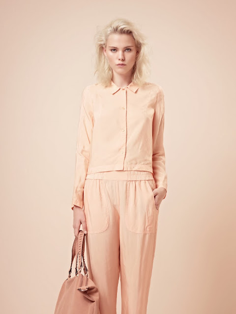 French Connection peach silk shirt