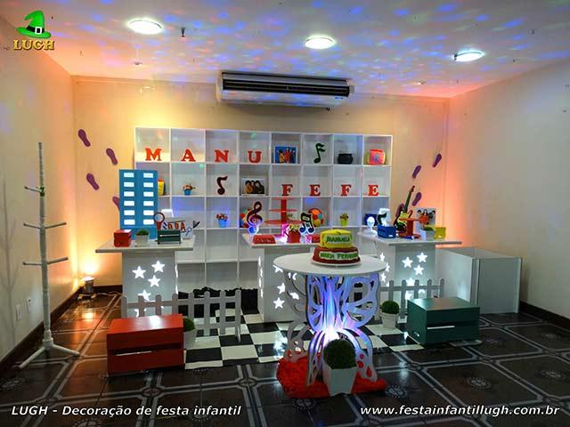 Decoração DPA. - Detetives do Prédio Azul - Mesa de aniversário provençal decorada para festa infantil - Barra - Rio de Janeiro -RJ