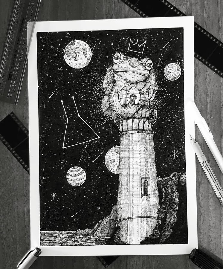 09-The-frog-and-the-lighthouse-Juan-Velilla-Drawings-www-designstack-co