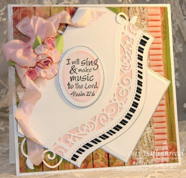 Our Daily Bread Designs, Just a Note, Fancy Foliage, Blushing Rose Collection, Designed by Robin Clendenning