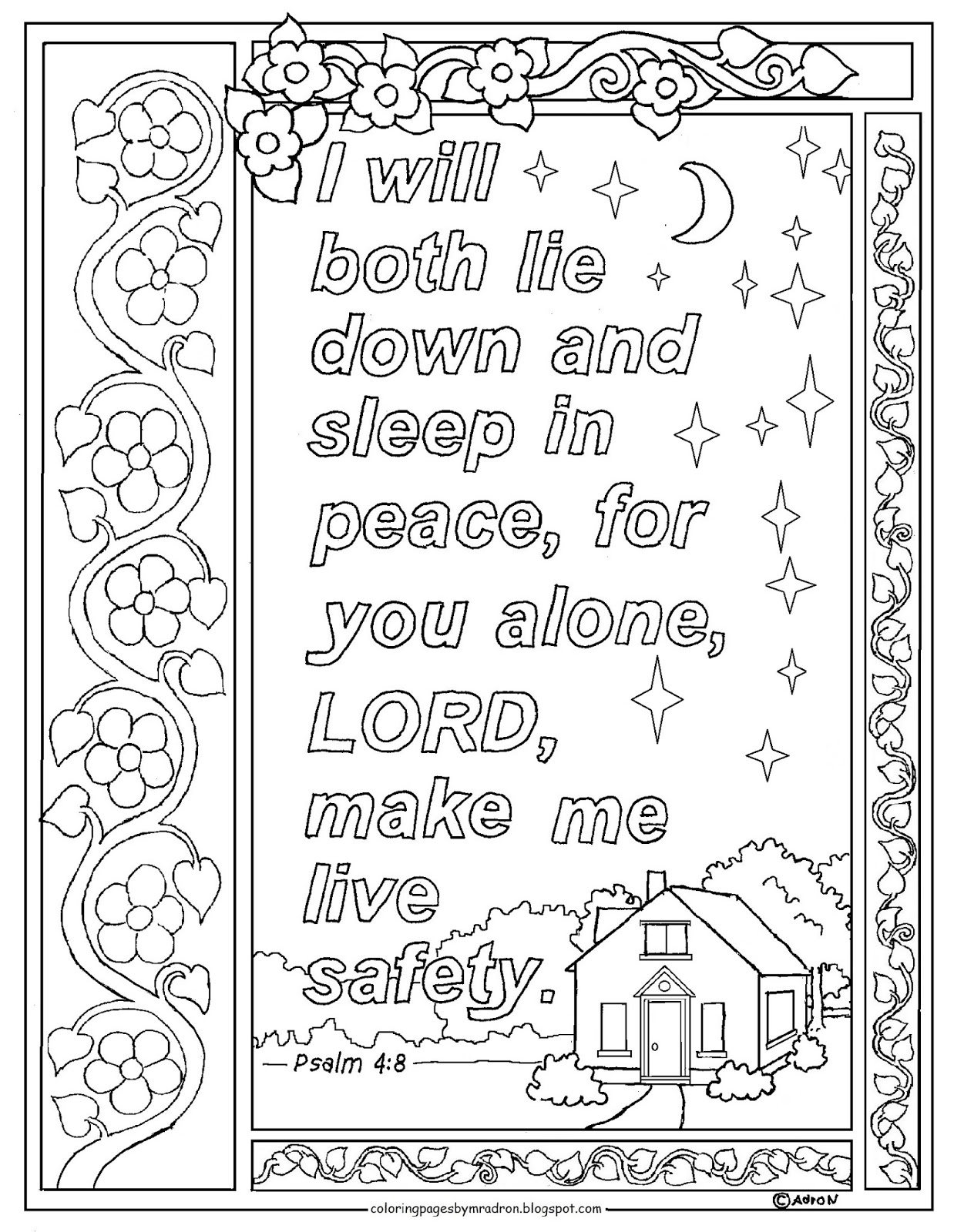 psalm 48 print and color page i will sleep in peace bible verse - Psalm 8 Coloring Page
