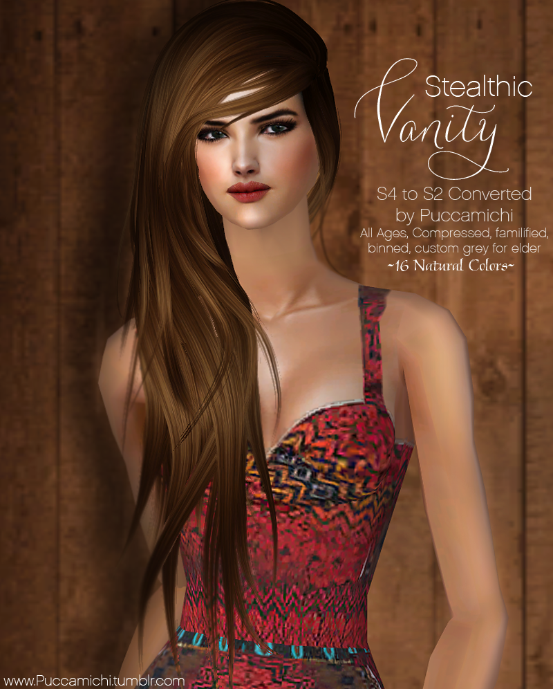"""Sims 2 Hairstyles: The Sims 2 Finds: Stealthic """"Vanity' Female Hair All Ages"""