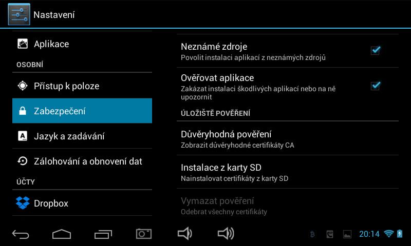 nastavení android aplikací