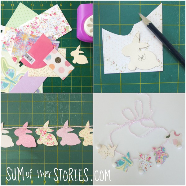 making a bunny rabbit garland