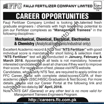 FFC Company Management Trainee program 2018, Description, Introduction, Job Location, Application Deadline, Official Website of FFC, NTS Website,
