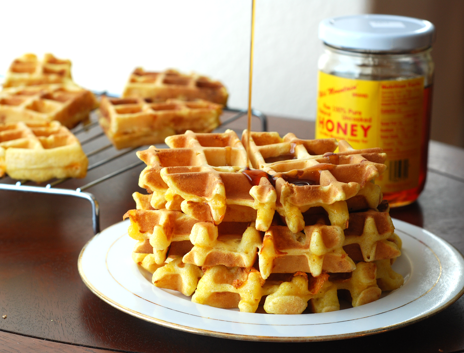 chasing bagels: apple and cheddar cornmeal waffles