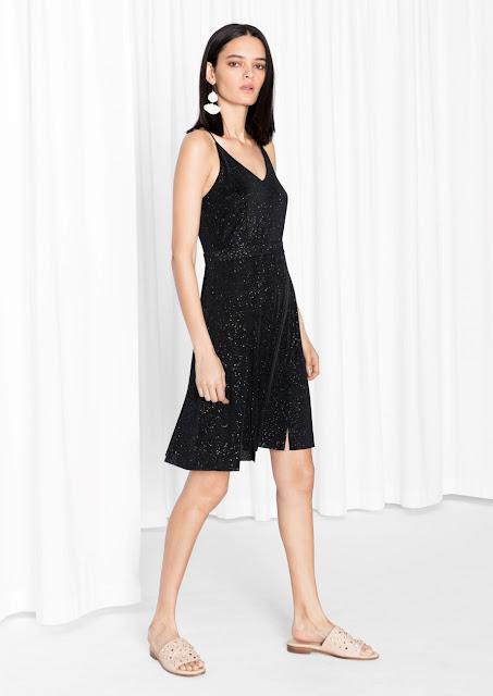 glitter strappy dress, black glitter dress, strappy glitter dress, glitter cami dress,