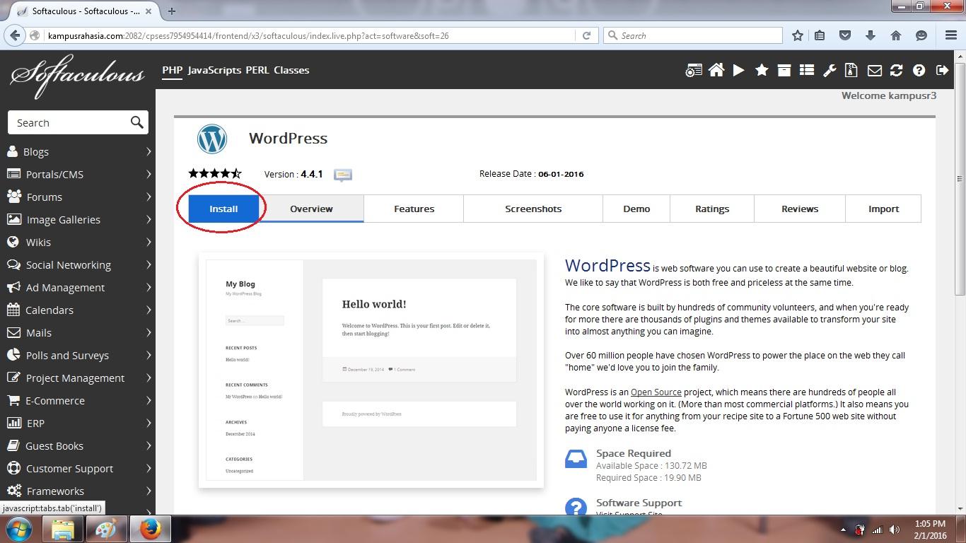 tutorial, cara, membuat, blog, gratis, hosting, cpanel, instal, domain