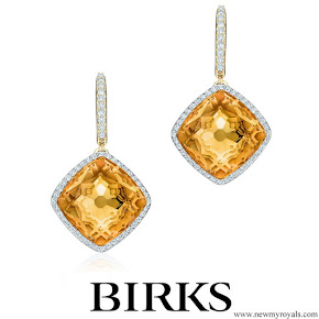 Meghan Markle wore Birks Muse Citrine and Diamond Drop Earrings