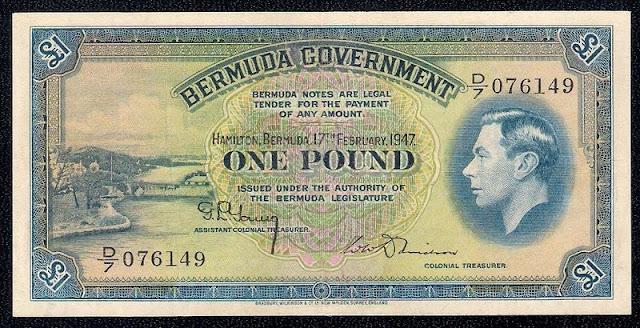 British Bermuda currency banknotes Bermudian pound, King George VI