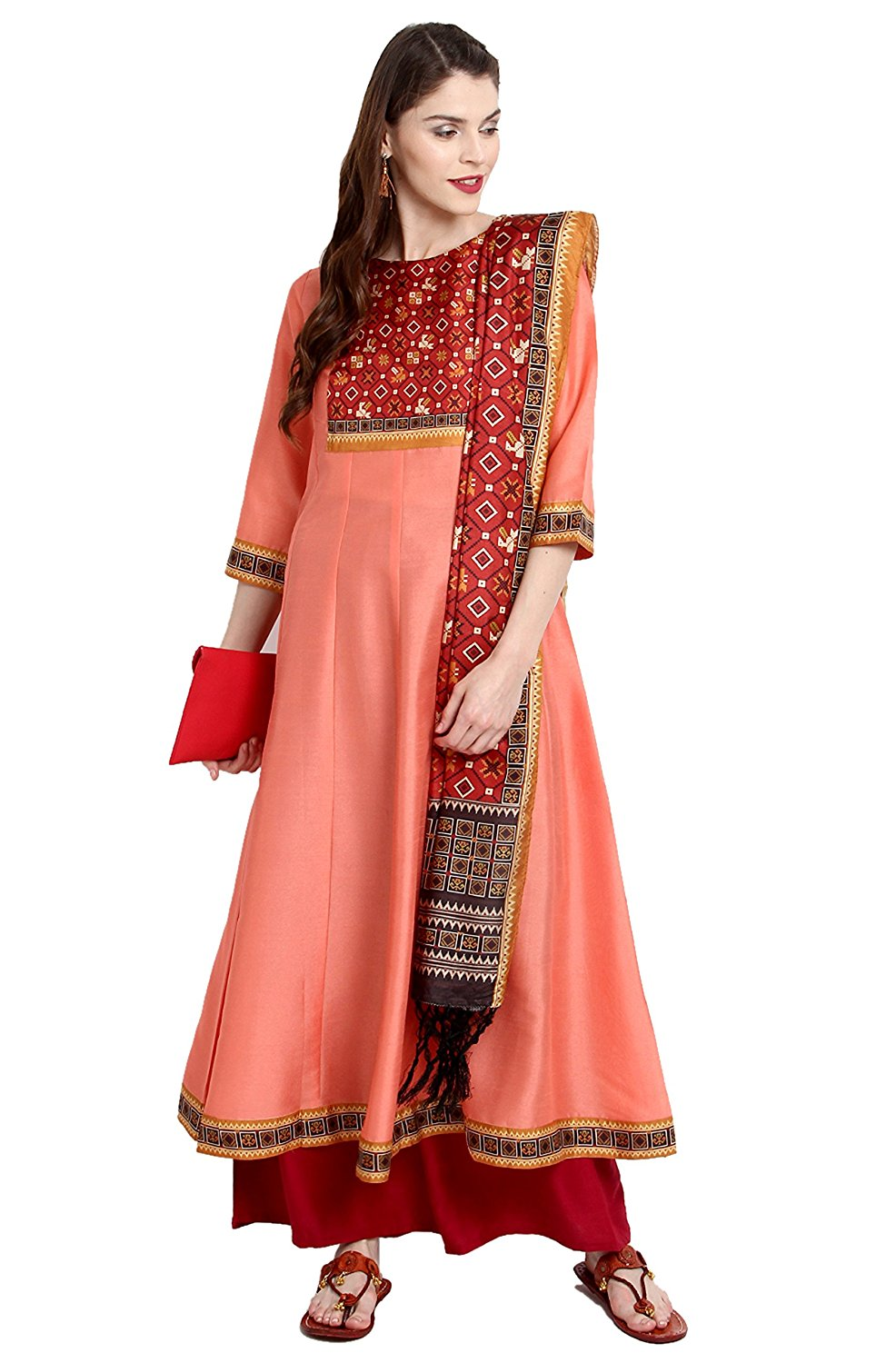 Janasya Women's Poly Silk Anarkali Kurta with Dupatta