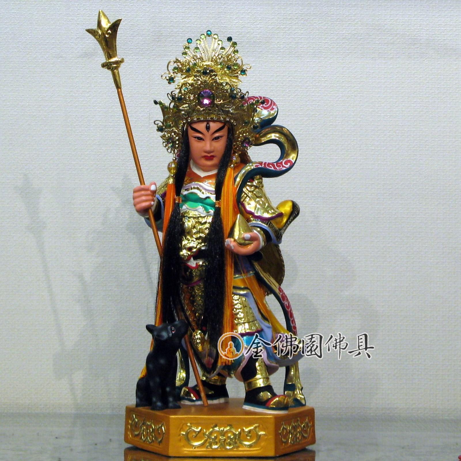 金佛園佛具: QF07二郎神顯聖二郎真君楊戩-樟木雕1尺3