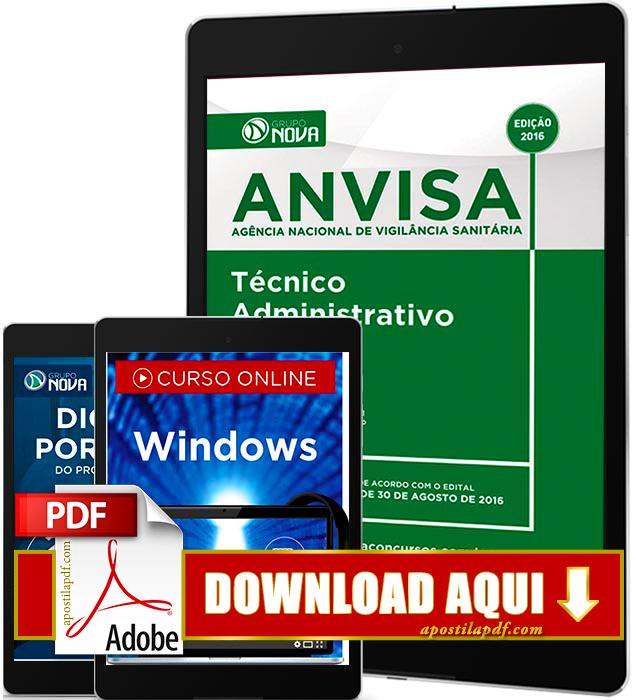 Apostila ANVISA 2016 PDF Download Técnico Administrativo