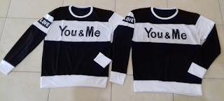 Jual Online Sweater You Me Neo Black Couple Murah Jakarta Bahan Babytery Terbaru
