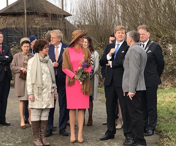 Queen Maxima wore Natan dress and GIANVITO ROSSI Suede pumps, Natan necklace