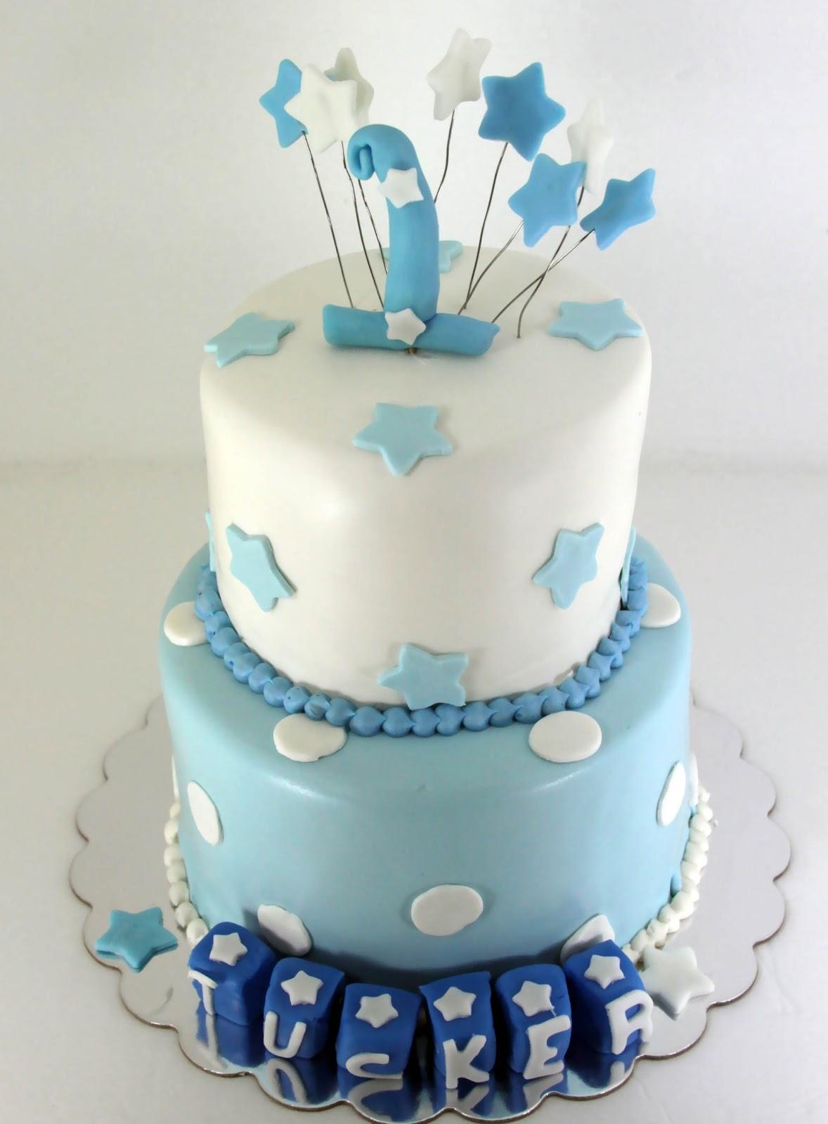 Tastefully Done Baby Boy Blue 1st Birthday Cake